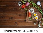 vegetables and a plate with... | Shutterstock . vector #372681772