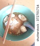 Small photo of Rice Noodles Soup with Fish Balls,Thai hawker food