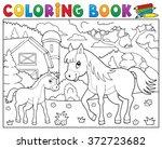 coloring book horse with foal... | Shutterstock .eps vector #372723682
