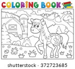coloring book horse near farm... | Shutterstock .eps vector #372723685