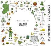 hand drawn doodle ireland set... | Shutterstock .eps vector #372732826