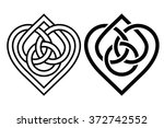 Intertwined Heart in Celtic Knot. Two Variants
