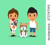cartoon man and woman with dogs | Shutterstock .eps vector #372747592