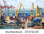 view on trading seaport with... | Shutterstock . vector #37276135