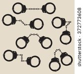 Stock vector set of vector handcuffs icons handcuffs sign vector illustration 372773608