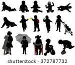 babies and toddlers silhouettes ... | Shutterstock .eps vector #372787732