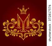 patterned golden letter m... | Shutterstock .eps vector #372817576
