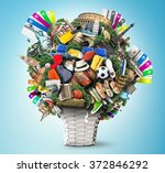 travel and tourism  flower with ... | Shutterstock . vector #372846292