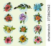 flowers set in traditional...   Shutterstock .eps vector #372862462