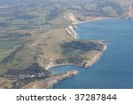 aerial shot lulworth cove and...