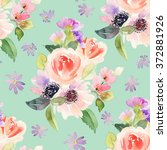 seamless pattern with flowers... | Shutterstock . vector #372881926