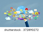 hand hold cell smart phone... | Shutterstock .eps vector #372890272