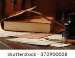 vintage calligraphy pen with...   Shutterstock . vector #372900028