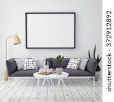 mock up poster with vintage... | Shutterstock . vector #372912892