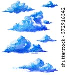 watercolor isolated clouds | Shutterstock . vector #372916342