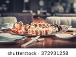 tasty fresh japanese sushi with ... | Shutterstock . vector #372931258