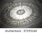 horoscope wheel chart blured on ... | Shutterstock . vector #37293160