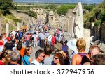 EPHESUS,TURKEY - 23 september 2009 ; Every day a big crowd of tourists are visitng the famous ancient city of Ephesus in Turkey  - stock photo