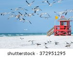 Red Wooden Lifeguard Hut And...