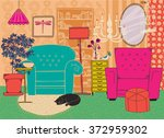hand drawn living room... | Shutterstock .eps vector #372959302