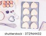baking heart shaped sugar... | Shutterstock . vector #372964432