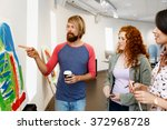 young people standing in a... | Shutterstock . vector #372968728