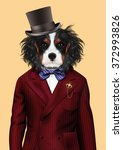 Dog Dressed Up In Red Tuxedo...