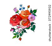 bouquet of roses  vector card... | Shutterstock .eps vector #372995932