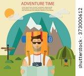 man traveler with backpack .... | Shutterstock .eps vector #373000612
