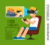 vr gaming. man sitting in an... | Shutterstock .eps vector #373001212