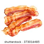 cooked bacon rashers isolated... | Shutterstock . vector #373016485