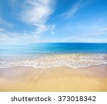 beach and beautiful tropical sea | Shutterstock . vector #373018342