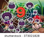 number nine with nine spiders... | Shutterstock .eps vector #373021828