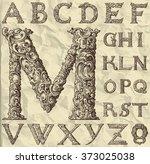 ornamental letter alphabet  ... | Shutterstock .eps vector #373025038