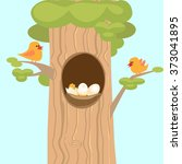 family birds on a tree  the... | Shutterstock .eps vector #373041895