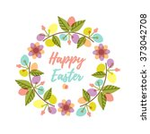 easter wreath with colorful... | Shutterstock .eps vector #373042708