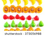 set of lined colourful fruit... | Shutterstock . vector #373056988