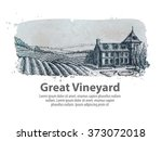 vineyard or a farm of hand... | Shutterstock .eps vector #373072018