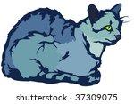 vector resting cat   Shutterstock .eps vector #37309075