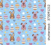 seamless pattern. rabbits and... | Shutterstock .eps vector #373091212