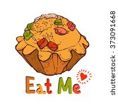 funny illustration of cupcake... | Shutterstock . vector #373091668