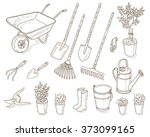 garden tools set. | Shutterstock .eps vector #373099165