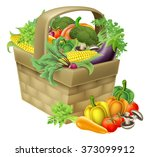 a vegetable food basket full of ... | Shutterstock .eps vector #373099912