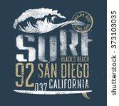 surfing artwork. black's beach... | Shutterstock .eps vector #373103035