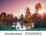 amazing sunrise by the quiet... | Shutterstock . vector #373104292