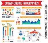 crowdfunding infographics set | Shutterstock . vector #373105282