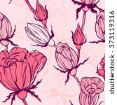 seamless pattern with  roses.... | Shutterstock .eps vector #373119316