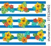 seamless vector hibiscus... | Shutterstock .eps vector #373126402