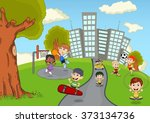children playing in the park... | Shutterstock .eps vector #373134736