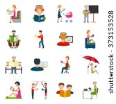 people reading icons set | Shutterstock . vector #373153528